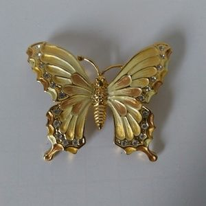 Vintage Brooch/Pin Yellow Butterfly Rhinestones